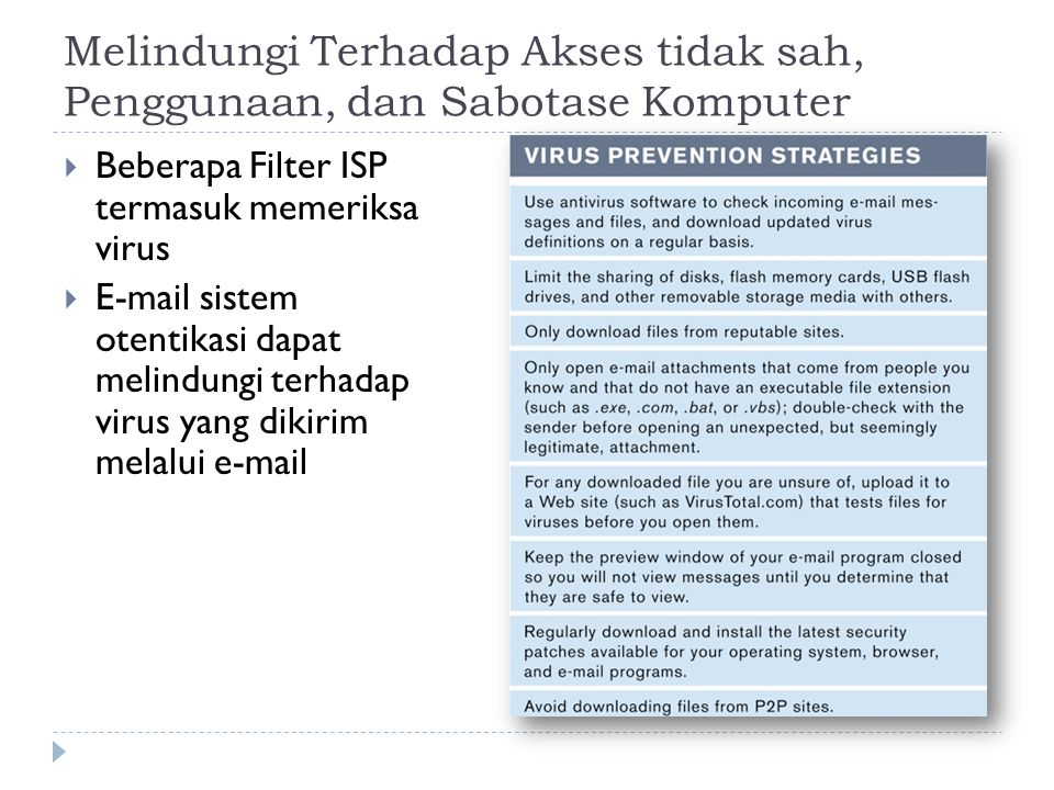 Melindungi Terhadap Akses tidak sah, Penggunaan, dan Sabotase Komputer  Beberapa Filter ISP termasuk memeriksa virus  E-mail sistem otentikasi dapat melindungi terhadap virus yang dikirim melalui e-mail