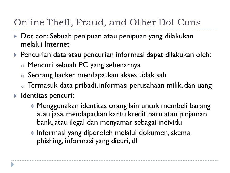 Online Theft, Fraud, and Other Dot Cons  Dot con: Sebuah penipuan atau penipuan yang dilakukan melalui Internet  Pencurian data atau pencurian informasi dapat dilakukan oleh: o Mencuri sebuah PC yang sebenarnya o Seorang hacker mendapatkan akses tidak sah o Termasuk data pribadi, informasi perusahaan milik, dan uang  Identitas pencuri:  Menggunakan identitas orang lain untuk membeli barang atau jasa, mendapatkan kartu kredit baru atau pinjaman bank, atau ilegal dan menyamar sebagai individu  Informasi yang diperoleh melalui dokumen, skema phishing, informasi yang dicuri, dll