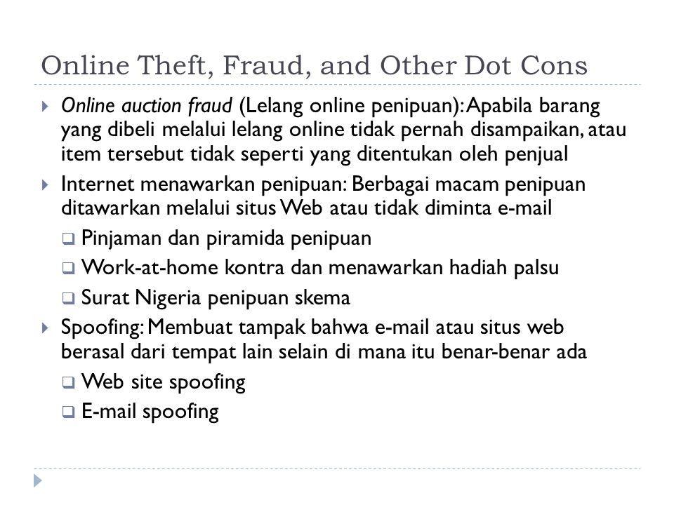 Online Theft, Fraud, and Other Dot Cons  Online auction fraud (Lelang online penipuan): Apabila barang yang dibeli melalui lelang online tidak pernah disampaikan, atau item tersebut tidak seperti yang ditentukan oleh penjual  Internet menawarkan penipuan: Berbagai macam penipuan ditawarkan melalui situs Web atau tidak diminta e-mail  Pinjaman dan piramida penipuan  Work-at-home kontra dan menawarkan hadiah palsu  Surat Nigeria penipuan skema  Spoofing: Membuat tampak bahwa e-mail atau situs web berasal dari tempat lain selain di mana itu benar-benar ada  Web site spoofing  E-mail spoofing