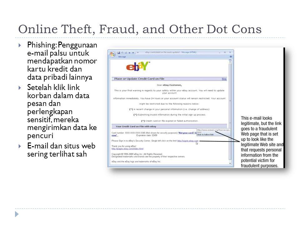 Online Theft, Fraud, and Other Dot Cons  Phishing: Penggunaan e-mail palsu untuk mendapatkan nomor kartu kredit dan data pribadi lainnya  Setelah klik link korban dalam data pesan dan perlengkapan sensitif, mereka mengirimkan data ke pencuri  E-mail dan situs web sering terlihat sah