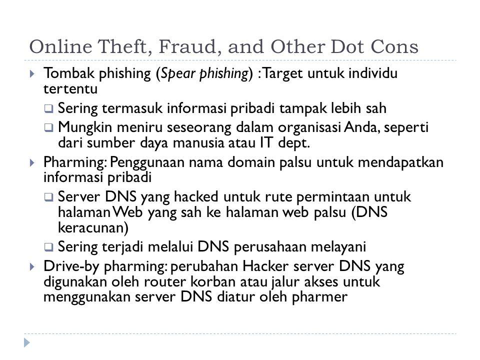 Online Theft, Fraud, and Other Dot Cons  Tombak phishing (Spear phishing) : Target untuk individu tertentu  Sering termasuk informasi pribadi tampak lebih sah  Mungkin meniru seseorang dalam organisasi Anda, seperti dari sumber daya manusia atau IT dept.