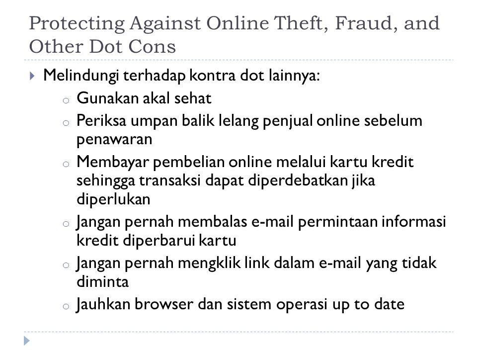 Protecting Against Online Theft, Fraud, and Other Dot Cons  Melindungi terhadap kontra dot lainnya: o Gunakan akal sehat o Periksa umpan balik lelang