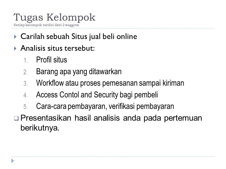 Tugas Kelompok Setiap kelompok terdiri dari 2 anggota  Carilah sebuah Situs jual beli online  Analisis situs tersebut: 1. Profil situs 2. Barang apa