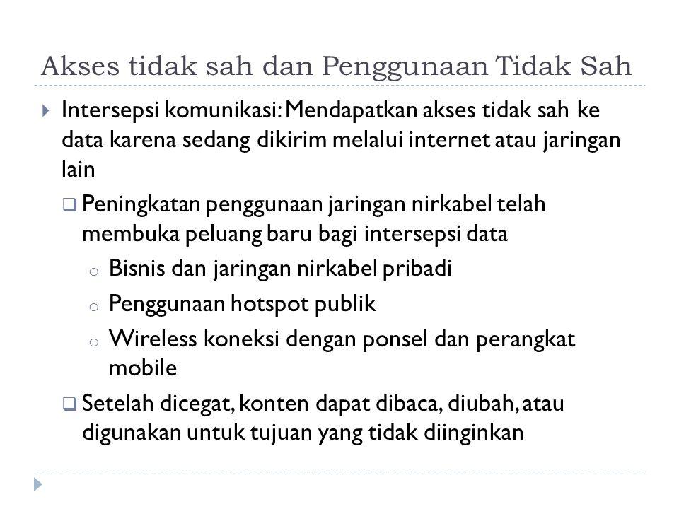 Akses tidak sah dan Penggunaan Tidak Sah  Intersepsi komunikasi: Mendapatkan akses tidak sah ke data karena sedang dikirim melalui internet atau jari