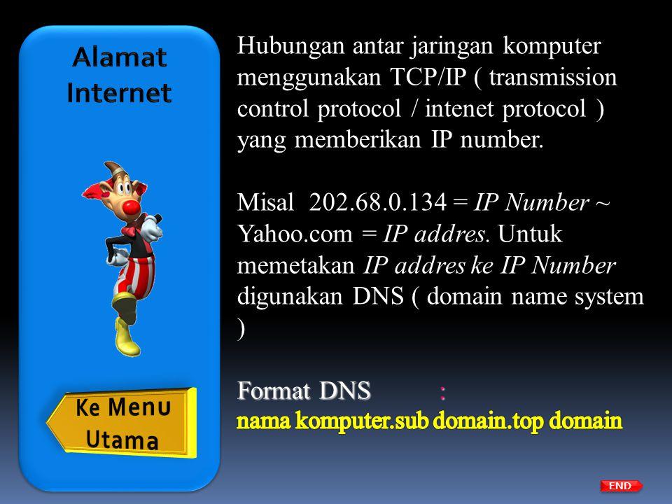 Top domain ( menunjukkan kelompok/organisasi ) a.Organisasi internasional com: commercial edu: education gov: government b.Kode negara sg: Singapura jp: Jepang id: Indonesia de: Jerman END
