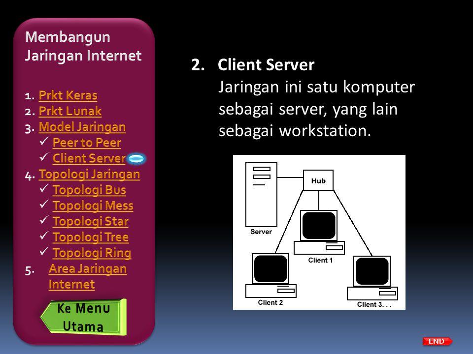 END 2.Client Server Jaringan ini satu komputer sebagai server, yang lain sebagai workstation.