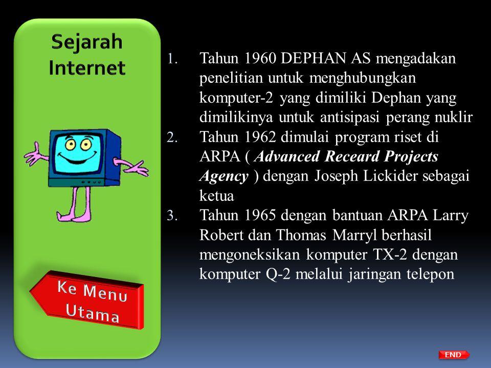 1. Tahun 1960 DEPHAN AS mengadakan penelitian untuk menghubungkan komputer-2 yang dimiliki Dephan yang dimilikinya untuk antisipasi perang nuklir 2. T