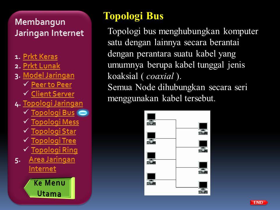 Topologi Bus Topologi bus menghubungkan komputer satu dengan lainnya secara berantai dengan perantara suatu kabel yang umumnya berupa kabel tunggal je