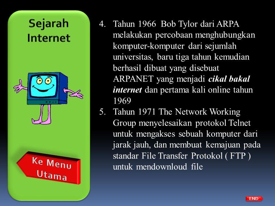 4.Tahun 1966 Bob Tylor dari ARPA melakukan percobaan menghubungkan komputer-komputer dari sejumlah universitas, baru tiga tahun kemudian berhasil dibu