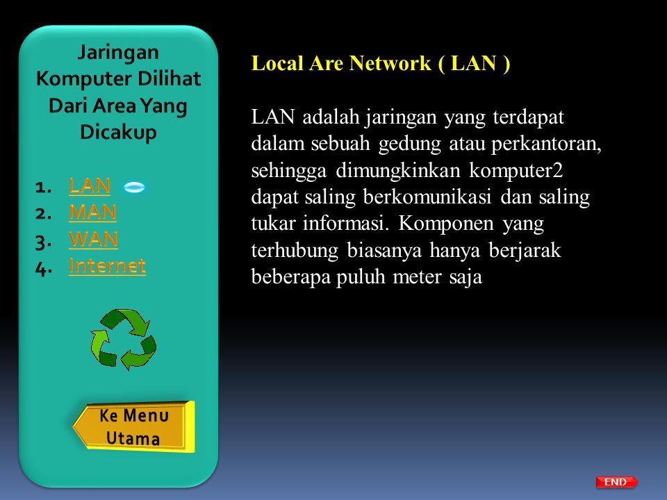 END Local Are Network ( LAN ) LAN adalah jaringan yang terdapat dalam sebuah gedung atau perkantoran, sehingga dimungkinkan komputer2 dapat saling ber