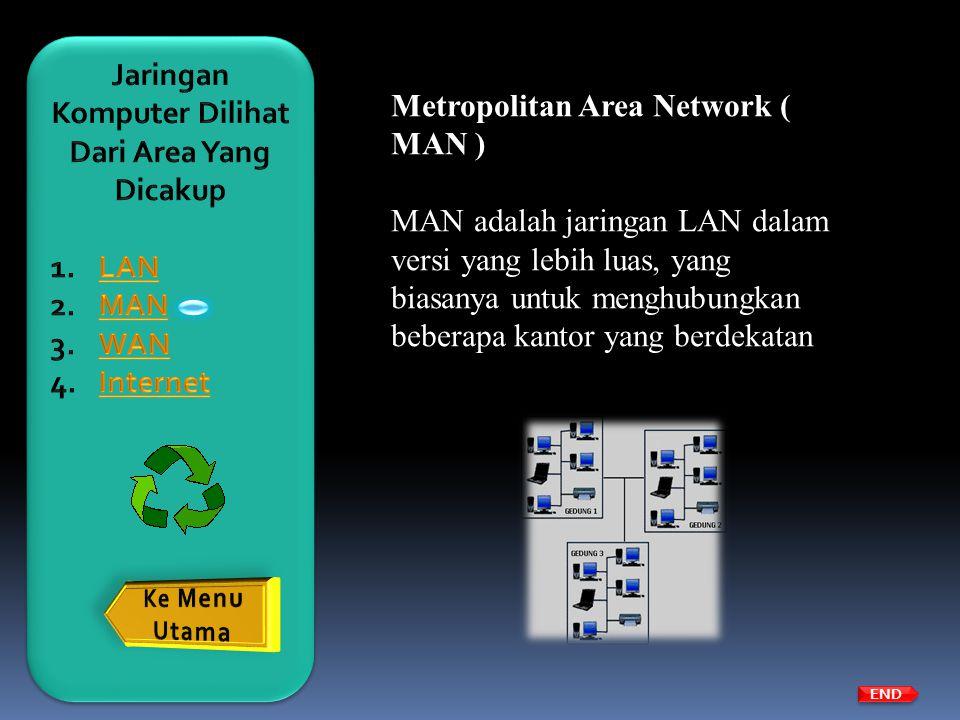 Metropolitan Area Network ( MAN ) MAN adalah jaringan LAN dalam versi yang lebih luas, yang biasanya untuk menghubungkan beberapa kantor yang berdekat