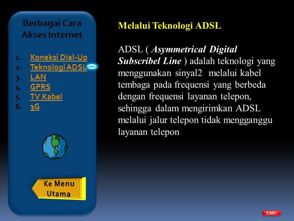 END Melalui Teknologi ADSL ADSL ( Asymmetrical Digital Subscribel Line ) adalah teknologi yang menggunakan sinyal2 melalui kabel tembaga pada frequens
