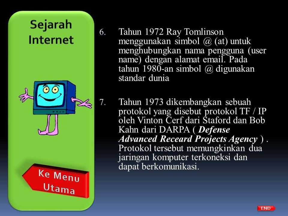 6. Tahun 1972 Ray Tomlinson menggunakan simbol @ (at) untuk menghubungkan nama pengguna (user name) dengan alamat email. Pada tahun 1980-an simbol @ d