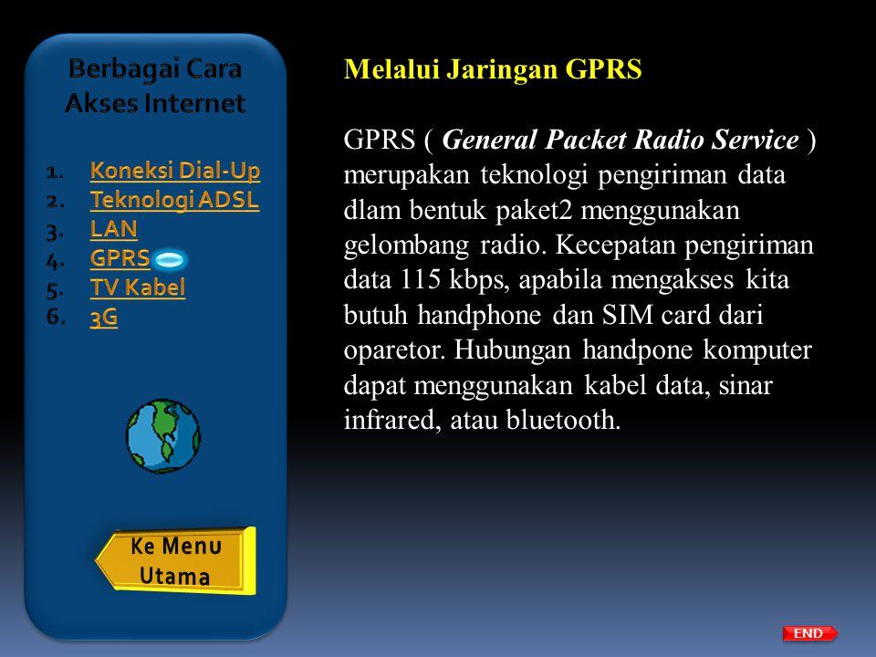Melalui Jaringan GPRS GPRS ( General Packet Radio Service ) merupakan teknologi pengiriman data dlam bentuk paket2 menggunakan gelombang radio. Kecepa
