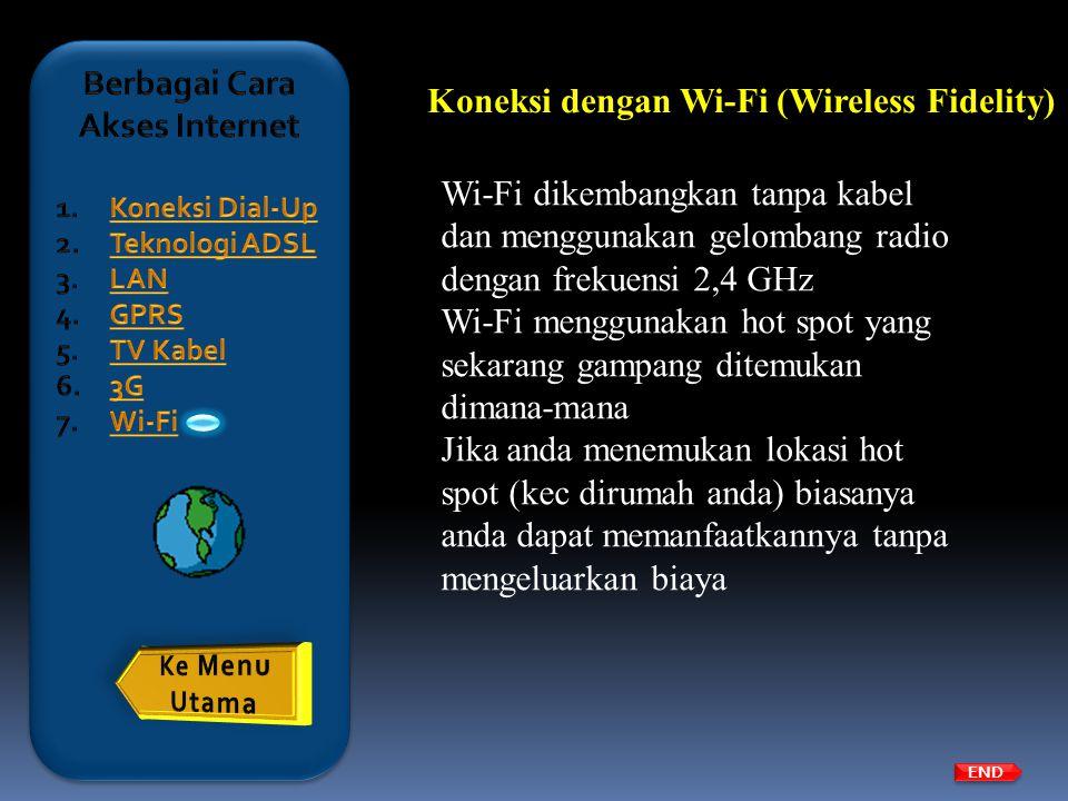 Koneksi dengan Wi-Fi (Wireless Fidelity) Wi-Fi dikembangkan tanpa kabel dan menggunakan gelombang radio dengan frekuensi 2,4 GHz Wi-Fi menggunakan hot