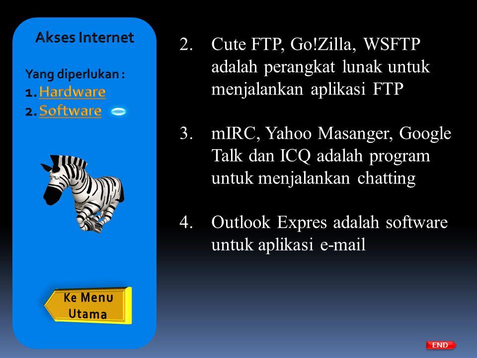 2.Cute FTP, Go!Zilla, WSFTP adalah perangkat lunak untuk menjalankan aplikasi FTP 3.mIRC, Yahoo Masanger, Google Talk dan ICQ adalah program untuk men