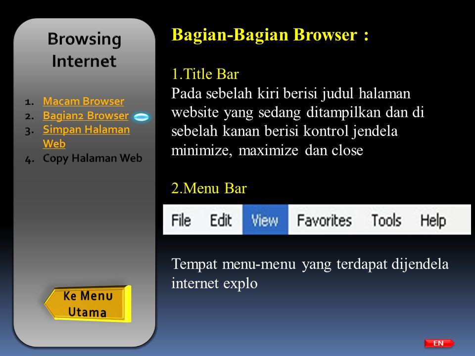 EN Bagian-Bagian Browser : 1.Title Bar Pada sebelah kiri berisi judul halaman website yang sedang ditampilkan dan di sebelah kanan berisi kontrol jend