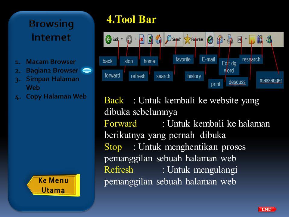 4.Tool Bar Back: Untuk kembali ke website yang dibuka sebelumnya Forward: Untuk kembali ke halaman berikutnya yang pernah dibuka Stop: Untuk menghenti