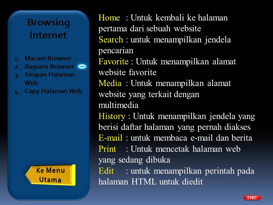 Home: Untuk kembali ke halaman pertama dari sebuah website Search: untuk menampilkan jendela pencarian Favorite : Untuk menampilkan alamat website fav