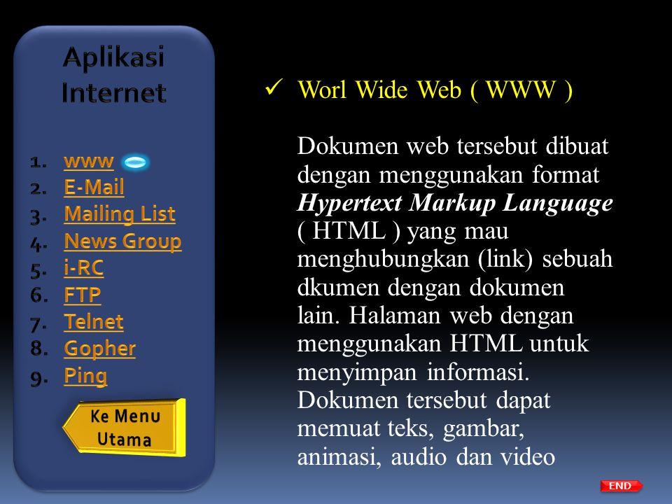  Worl Wide Web ( WWW ) Dokumen web tersebut dibuat dengan menggunakan format Hypertext Markup Language ( HTML ) yang mau menghubungkan (link) sebuah