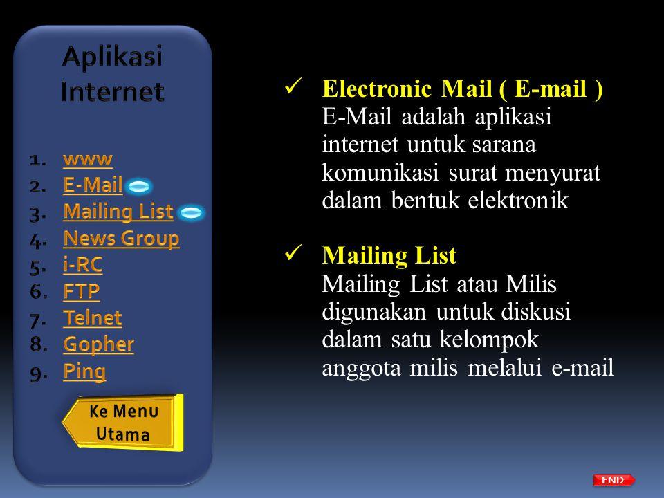  Electronic Mail ( E-mail ) E-Mail adalah aplikasi internet untuk sarana komunikasi surat menyurat dalam bentuk elektronik  Mailing List Mailing Lis