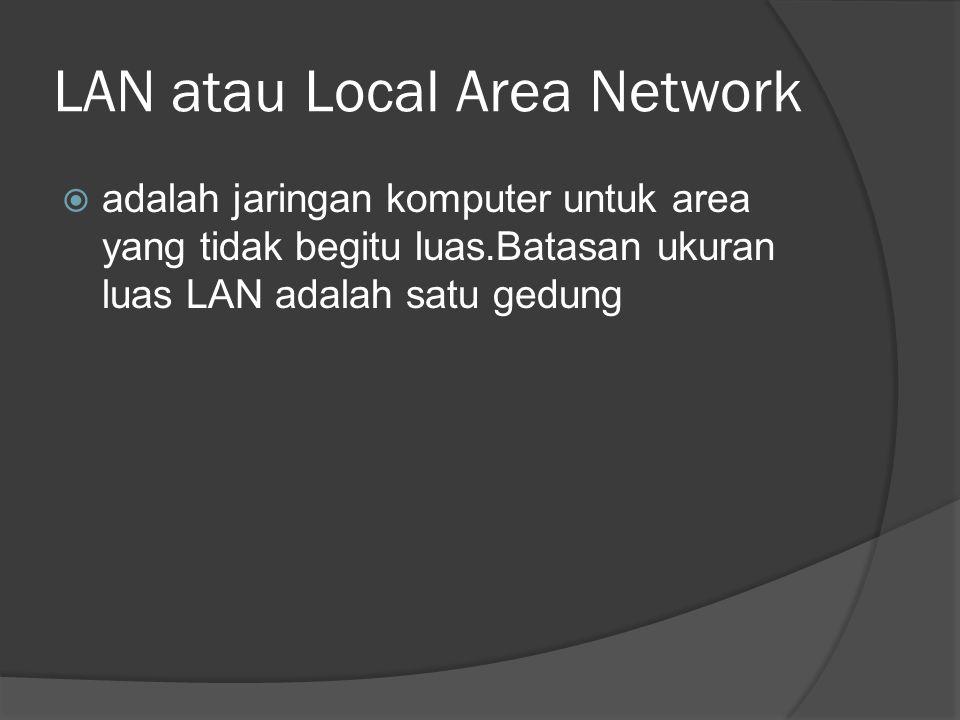 LAN atau Local Area Network  adalah jaringan komputer untuk area yang tidak begitu luas.Batasan ukuran luas LAN adalah satu gedung