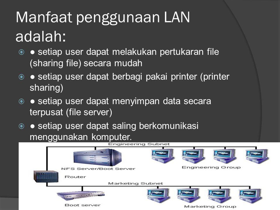 Manfaat penggunaan LAN adalah:  ● setiap user dapat melakukan pertukaran file (sharing file) secara mudah  ● setiap user dapat berbagi pakai printer