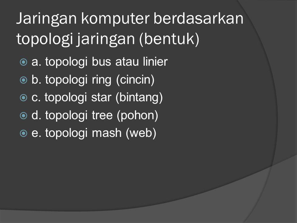 Jaringan komputer berdasarkan topologi jaringan (bentuk)  a. topologi bus atau linier  b. topologi ring (cincin)  c. topologi star (bintang)  d. t