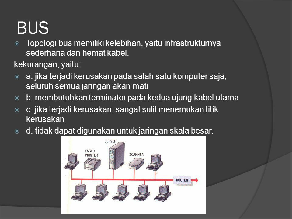 BUS  Topologi bus memiliki kelebihan, yaitu infrastrukturnya sederhana dan hemat kabel. kekurangan, yaitu:  a. jika terjadi kerusakan pada salah sat
