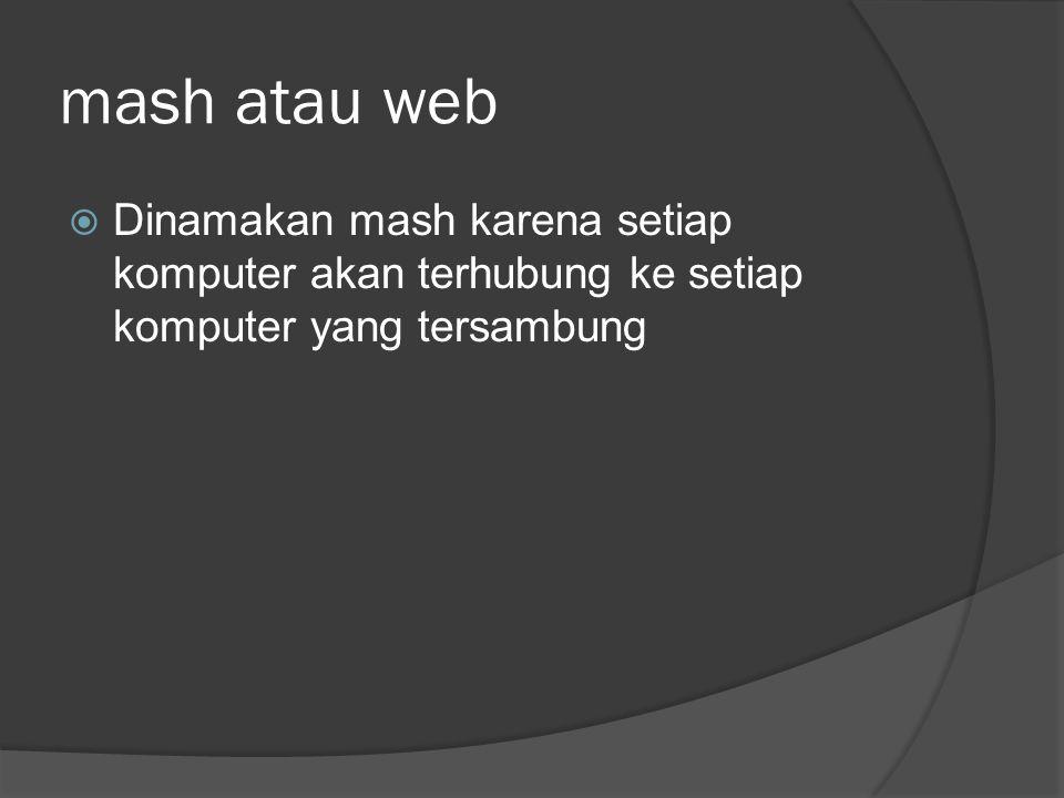 mash atau web  Dinamakan mash karena setiap komputer akan terhubung ke setiap komputer yang tersambung