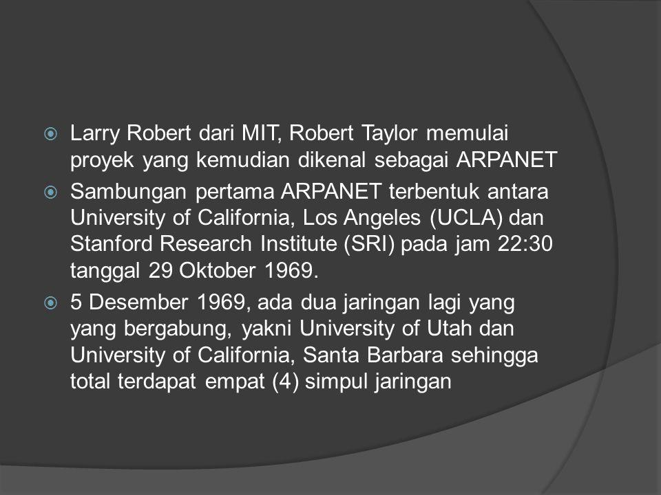  Larry Robert dari MIT, Robert Taylor memulai proyek yang kemudian dikenal sebagai ARPANET  Sambungan pertama ARPANET terbentuk antara University of