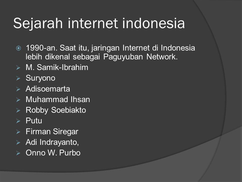 Sejarah internet indonesia  1990-an. Saat itu, jaringan Internet di Indonesia lebih dikenal sebagai Paguyuban Network.  M. Samik-Ibrahim  Suryono 