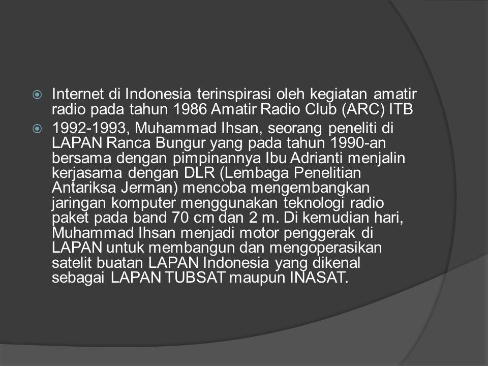  Internet di Indonesia terinspirasi oleh kegiatan amatir radio pada tahun 1986 Amatir Radio Club (ARC) ITB  1992-1993, Muhammad Ihsan, seorang penel