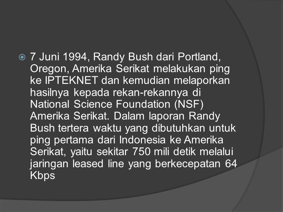  7 Juni 1994, Randy Bush dari Portland, Oregon, Amerika Serikat melakukan ping ke IPTEKNET dan kemudian melaporkan hasilnya kepada rekan-rekannya di