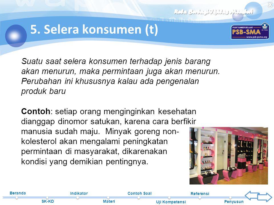 Beranda SK-KD Indikator Materi Contoh Soal Uji Kompetensi Referensi Penyusun 5. Selera konsumen (t) Suatu saat selera konsumen terhadap jenis barang a