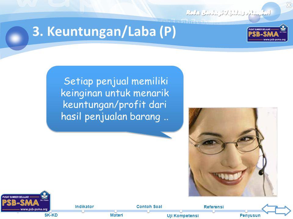 Beranda SK-KD Indikator Materi Contoh Soal Uji Kompetensi Referensi Penyusun 3. Keuntungan/Laba (P) Setiap penjual memiliki keinginan untuk menarik ke