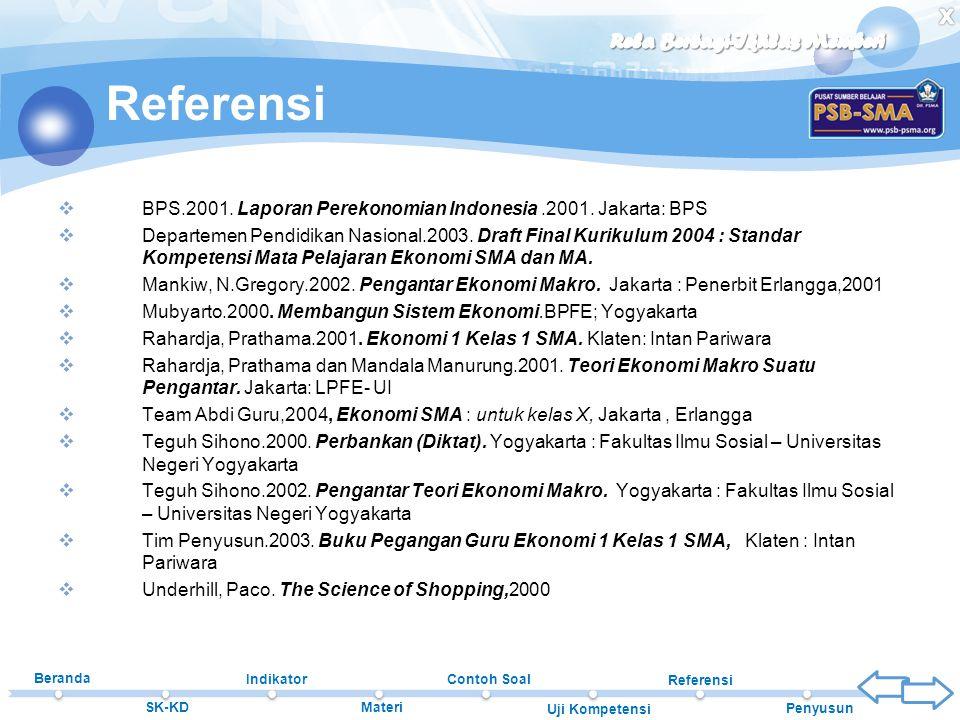 Beranda SK-KD Indikator Materi Contoh Soal Uji Kompetensi Referensi Penyusun Referensi  BPS.2001. Laporan Perekonomian Indonesia.2001. Jakarta: BPS 