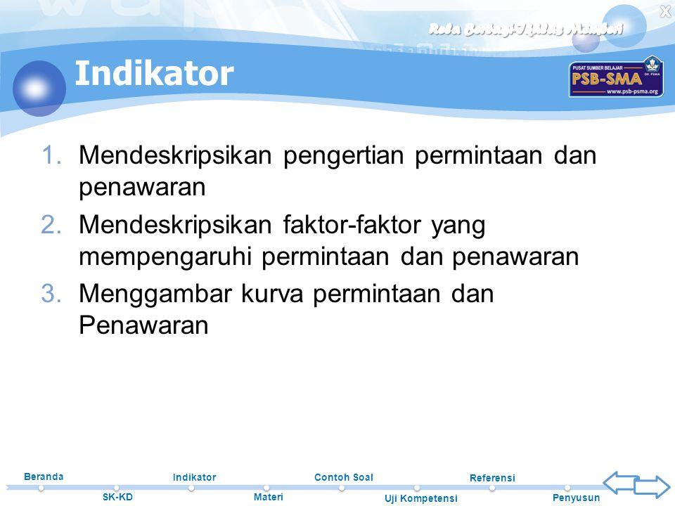 Beranda SK-KD Indikator Materi Contoh Soal Uji Kompetensi Referensi Penyusun 1.Mendeskripsikan pengertian permintaan dan penawaran 2.Mendeskripsikan f