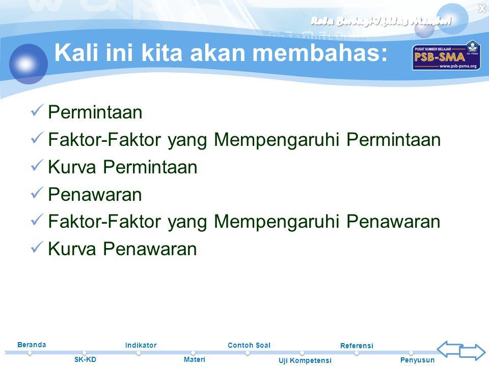 Beranda SK-KD Indikator Materi Contoh Soal Uji Kompetensi Referensi Penyusun Kali ini kita akan membahas:  Permintaan  Faktor-Faktor yang Mempengaru