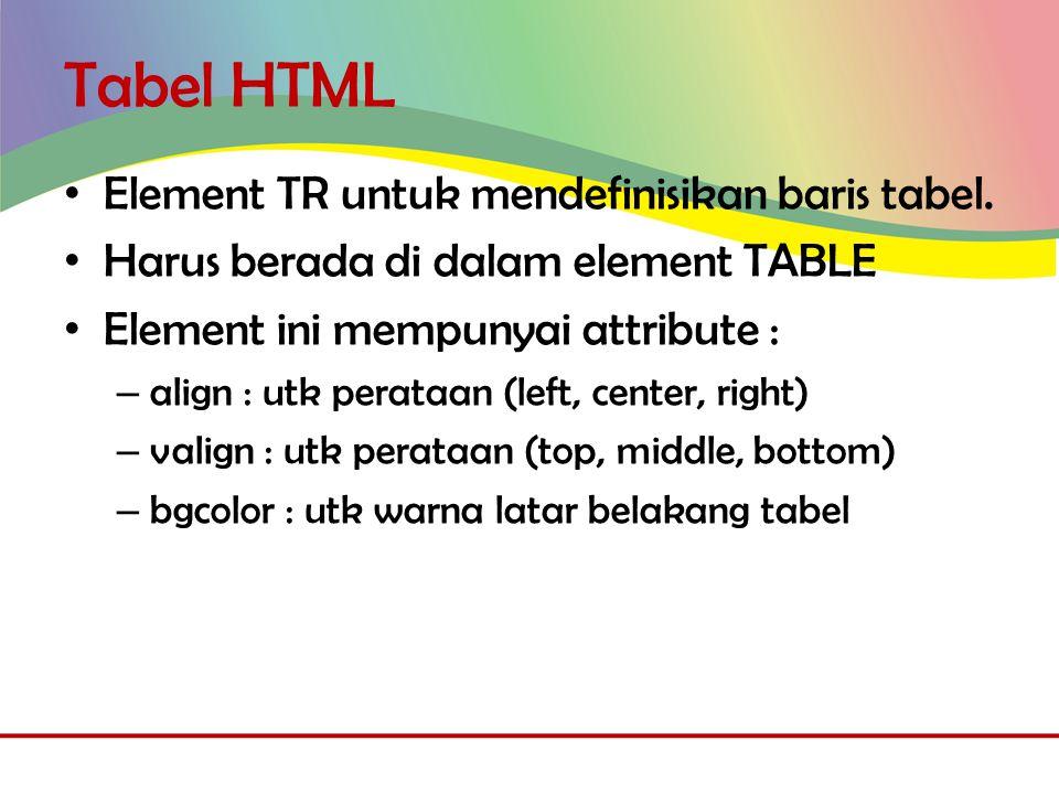 Tabel HTML • Element TR untuk mendefinisikan baris tabel.