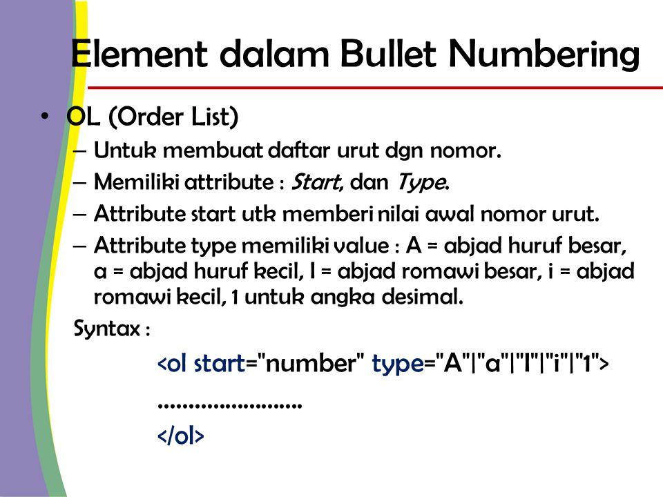 Element dalam Bullet Numbering • UL (Unorder List) – Untuk membuat daftar urut dgn symbol (bullet).