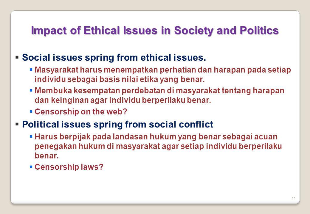 11  Social issues spring from ethical issues.  Masyarakat harus menempatkan perhatian dan harapan pada setiap individu sebagai basis nilai etika yan
