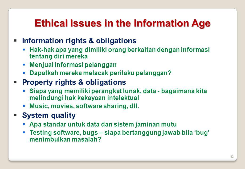12  Information rights & obligations  Hak-hak apa yang dimiliki orang berkaitan dengan informasi tentang diri mereka  Menjual informasi pelanggan 