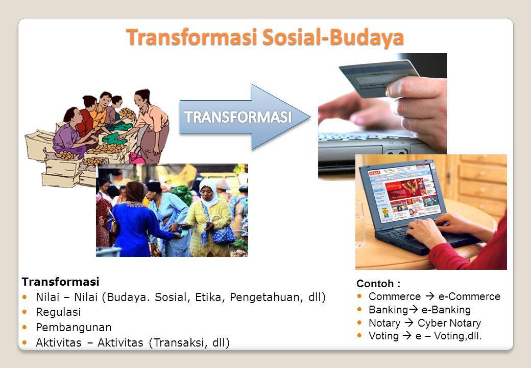 Transformasi Sosial-Budaya Transformasi  Nilai – Nilai (Budaya. Sosial, Etika, Pengetahuan, dll)  Regulasi  Pembangunan  Aktivitas – Aktivitas (Tr
