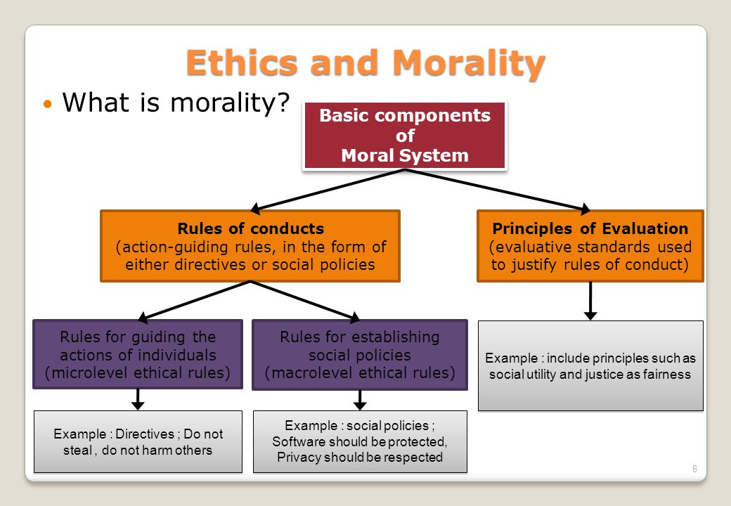 Rules for establishing social policies (macrolevel ethical rules) 8 Ethics and Morality  What is morality? Rules of conducts (action-guiding rules, i
