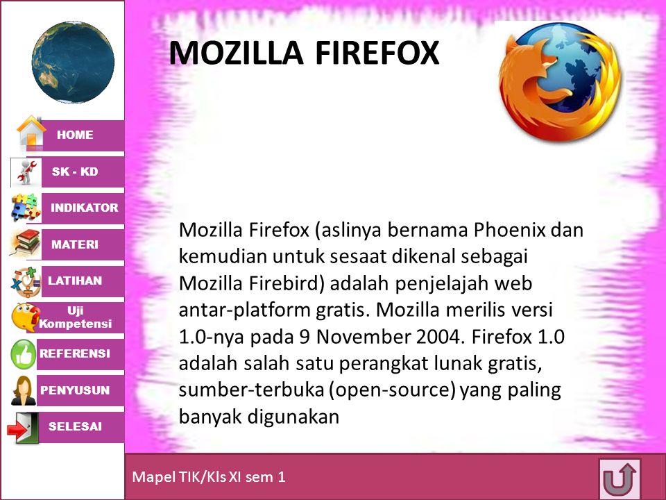 HOME SK - KD INDIKATOR MATERI LATIHAN Uji Kompetensi REFERENSI PENYUSUN SELESAI Mapel TIK/Kls XI sem 1 MOZILLA FIREFOX Mozilla Firefox (aslinya bernam