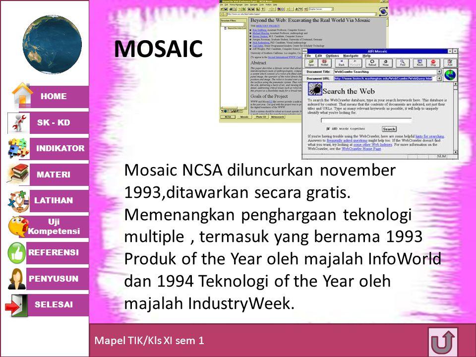 HOME SK - KD INDIKATOR MATERI LATIHAN Uji Kompetensi REFERENSI PENYUSUN SELESAI Mapel TIK/Kls XI sem 1 MOSAIC Mosaic NCSA diluncurkan november 1993,di