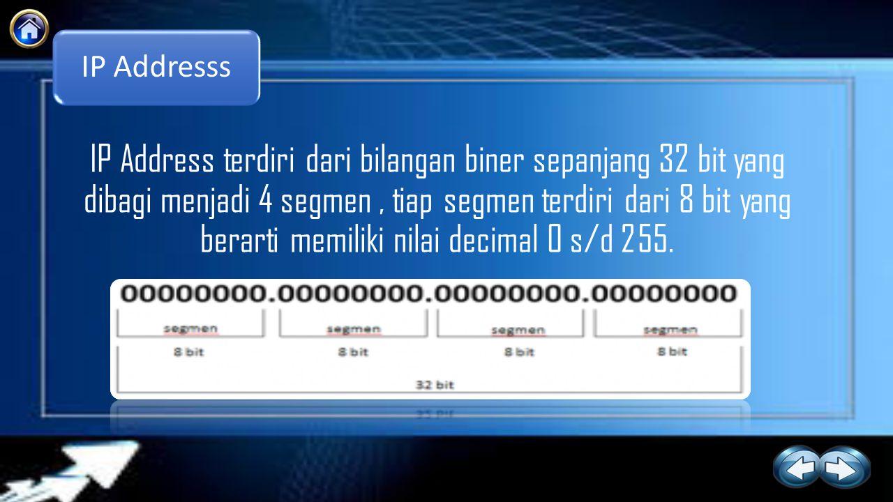 IP Addresss IP Address terdiri dari bilangan biner sepanjang 32 bit yang dibagi menjadi 4 segmen, tiap segmen terdiri dari 8 bit yang berarti memiliki nilai decimal 0 s/d 255.