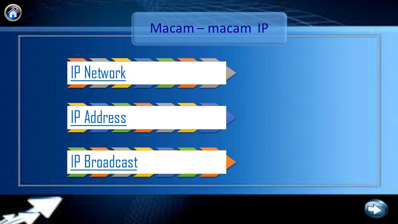 IP Network Pengelompokan suatu jaringan dengan batasan yang dibuat dan didefinisikan oleh router.