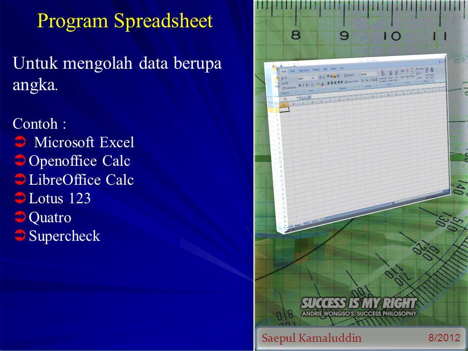 Saepul Kamaluddin 8/2012 Program Spreadsheet Untuk mengolah data berupa angka.